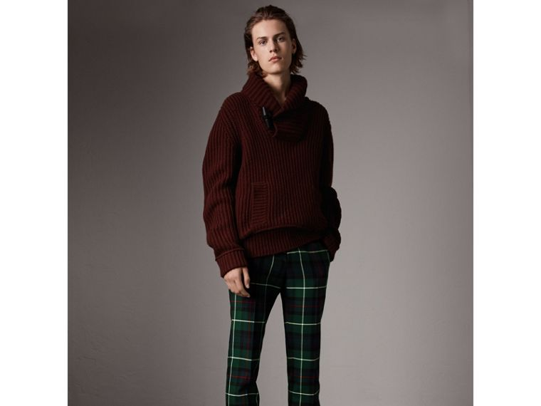 Shawl Collar Wool Cashmere Sweater in Mahogany Red - Men | Burberry United States - cell image 4