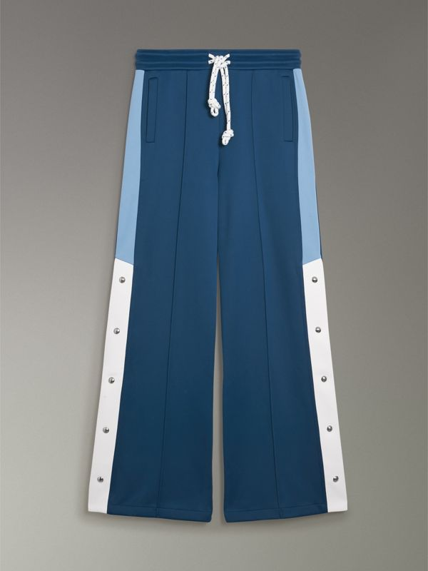 Panelled Wide-leg Drawcord Trousers in Hydrangea Blue - Women | Burberry Singapore - cell image 3