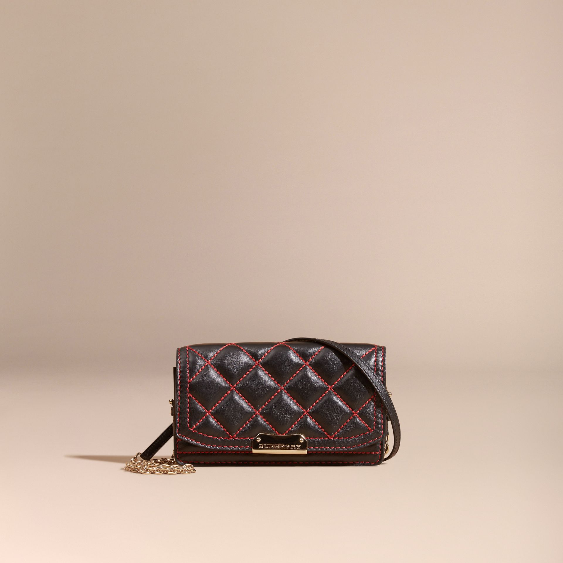 Black/ parade red Quilted Leather Clutch Bag with Chain - gallery image 9