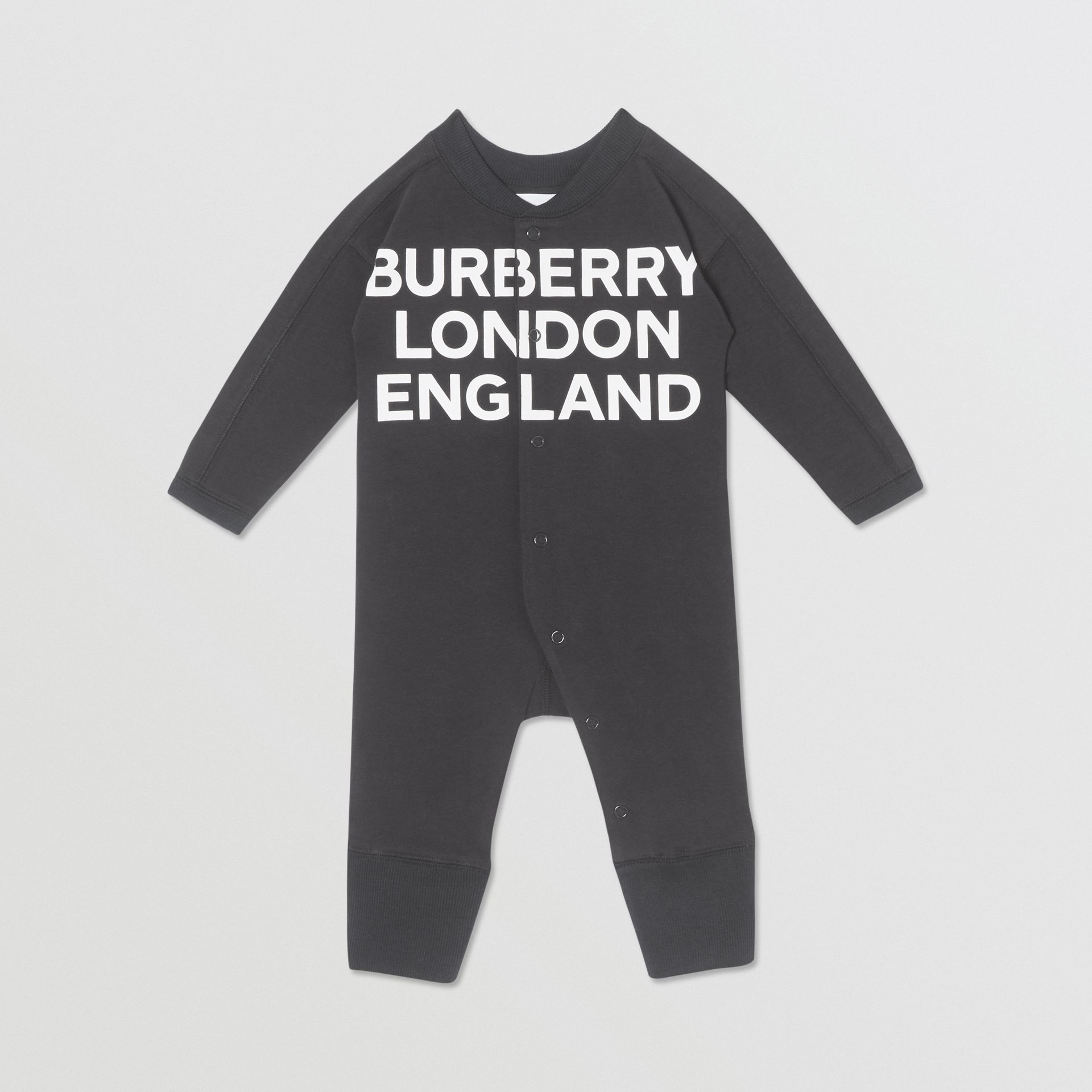 Logo Print Organic Cotton Two-piece Baby Gift Set in Black - Children | Burberry United Kingdom - gallery image 2