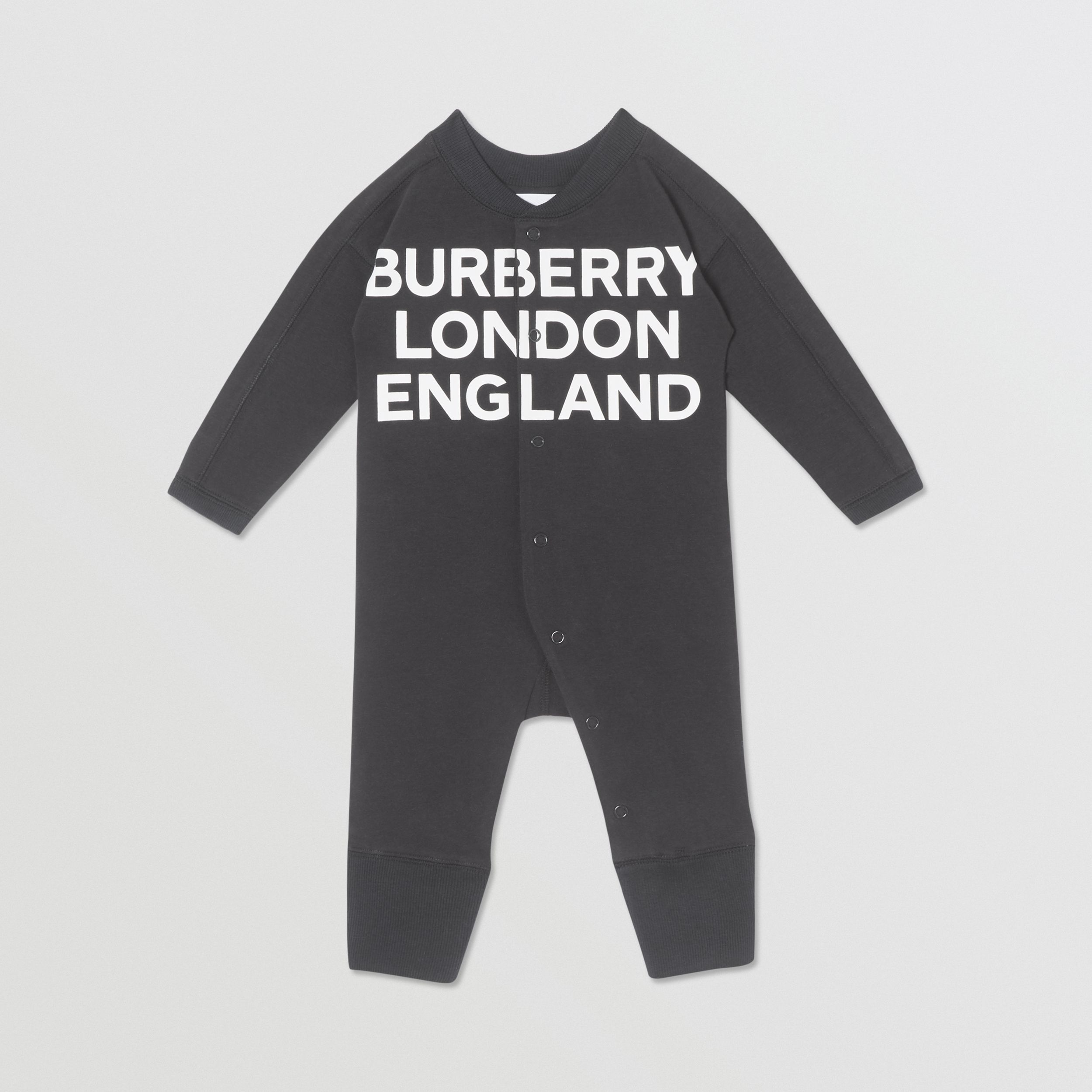 Logo Print Cotton Two-piece Baby Gift Set in Black - Children | Burberry - 3