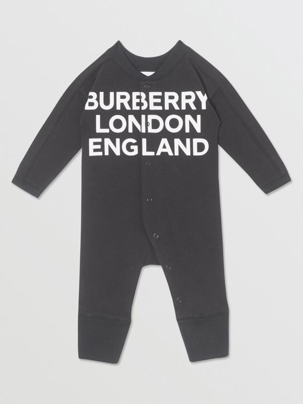 Logo Print Organic Cotton Two-piece Baby Gift Set in Black - Children | Burberry United Kingdom - cell image 2