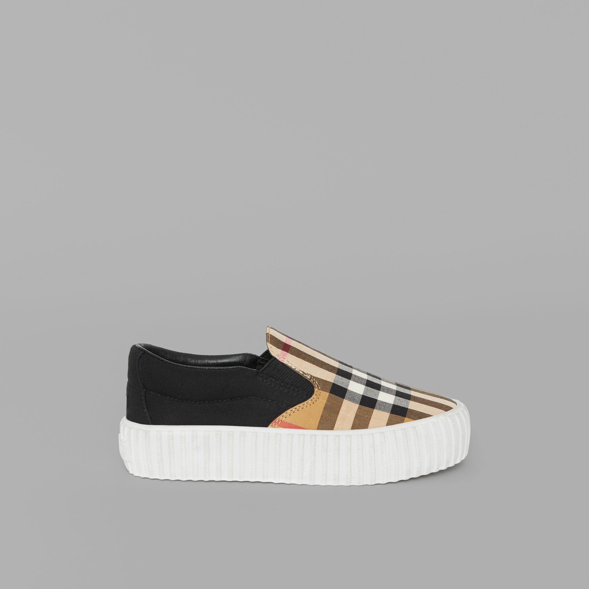 Vintage Check Detail Slip-on Sneakers in Black/antique Yellow - Children | Burberry Australia - gallery image 3