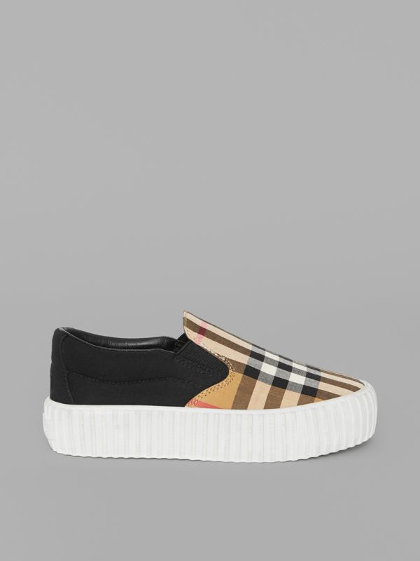 Vintage Check Detail Slip-on Sneakers in Black/antique Yellow - Children | Burberry United Kingdom - cell image 3
