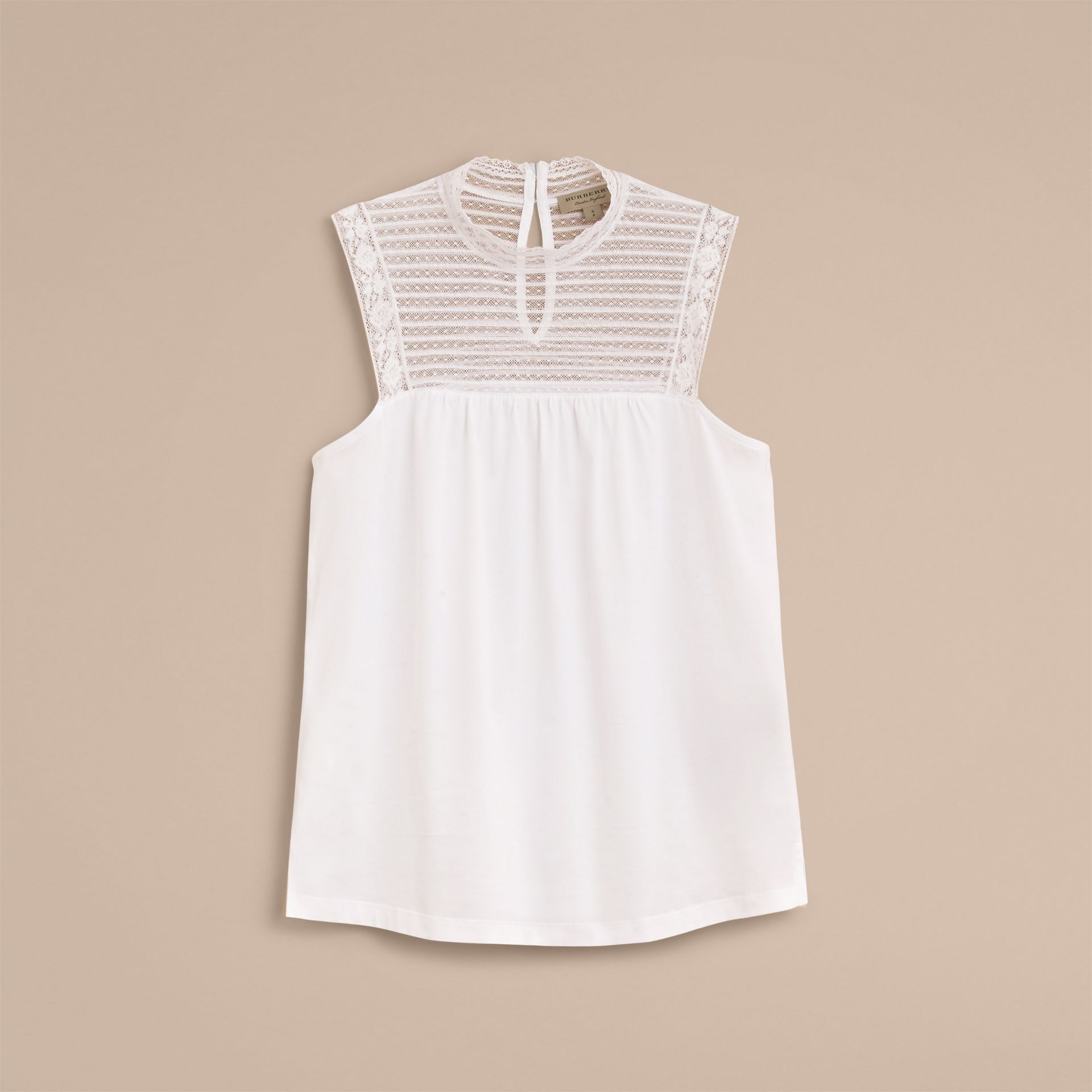 Sleeveless Lace Panel Cotton Top in White - Women | Burberry - gallery image 4