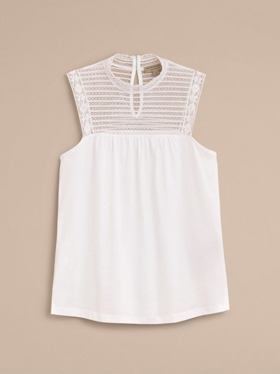 Sleeveless Lace Panel Cotton Top in White - Women | Burberry - cell image 3