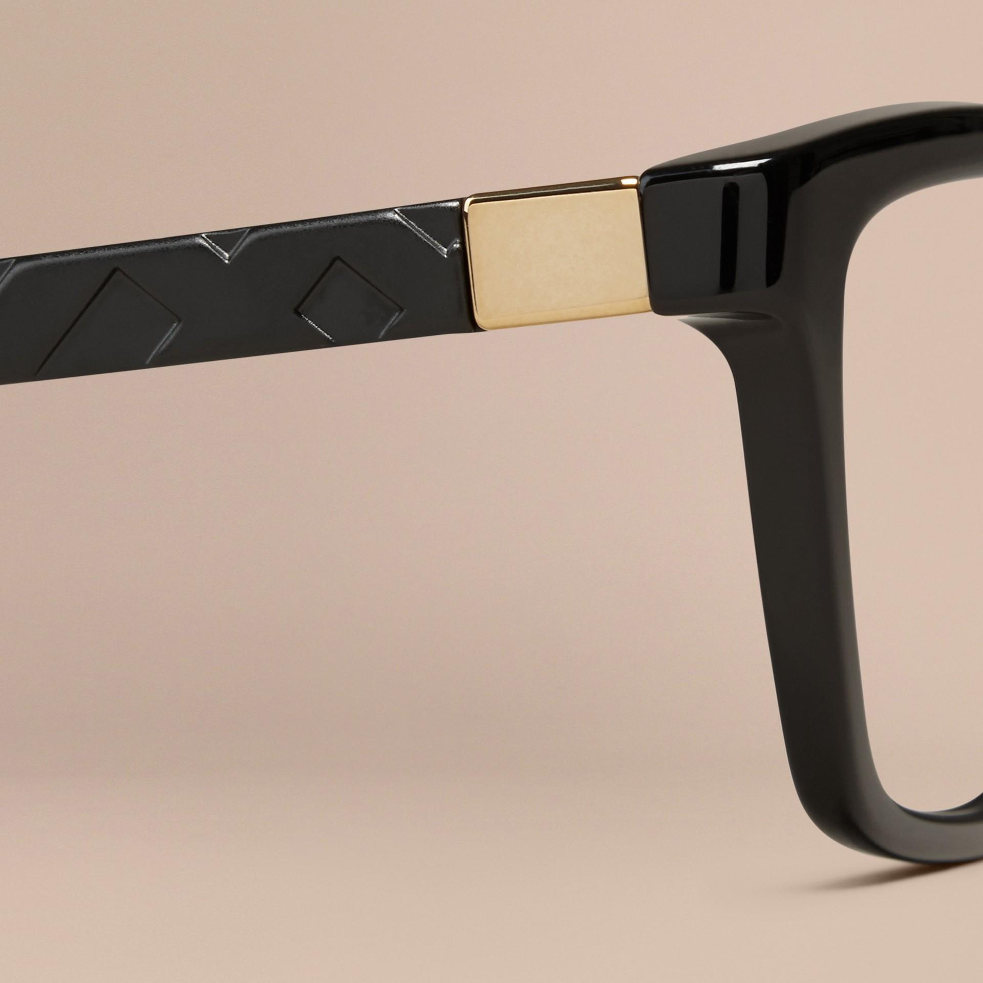 Black Check Detail Cat-eye Optical Frames Black - gallery image 2