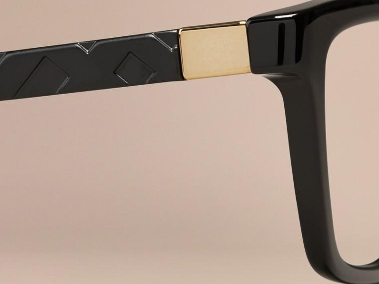 Black Check Detail Cat-eye Optical Frames Black - cell image 1