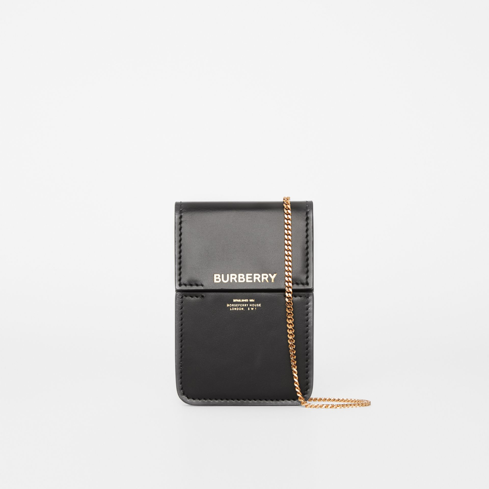 Horseferry Print Leather Card Case Lanyard in Black - Women | Burberry - gallery image 0