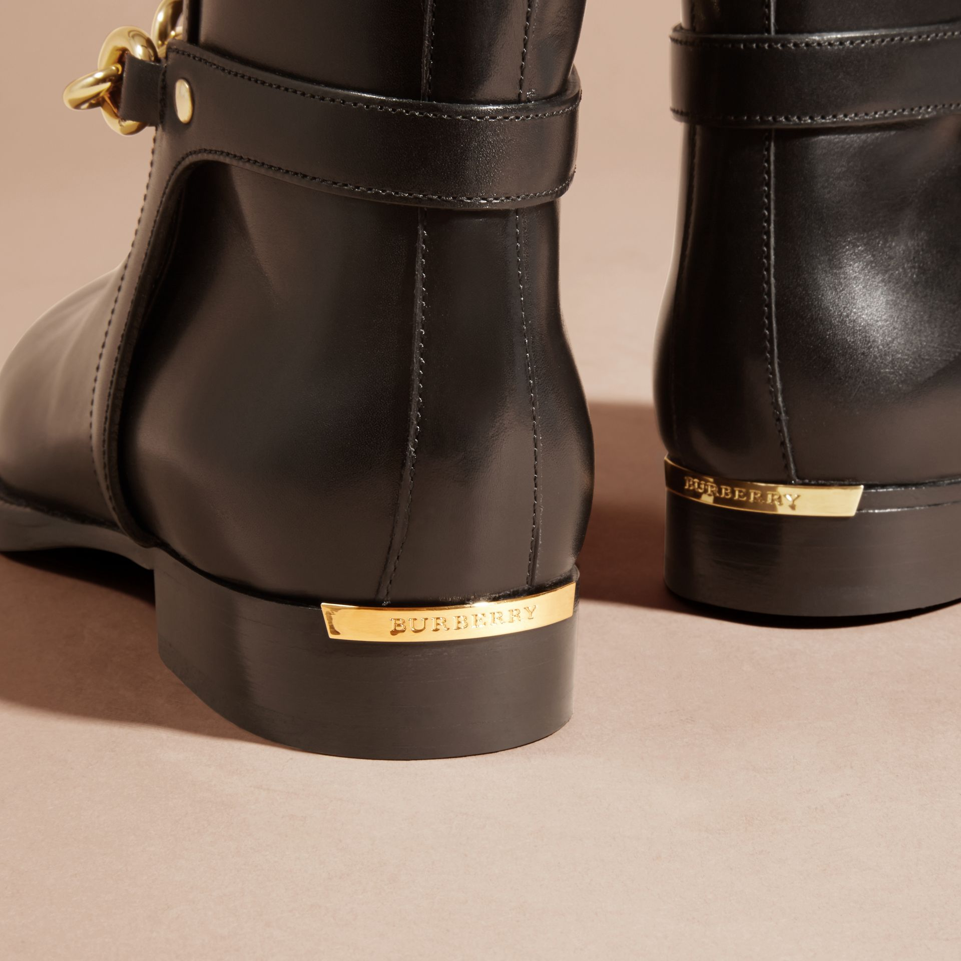 Black Chain Detail Leather Ankle Boots - gallery image 2