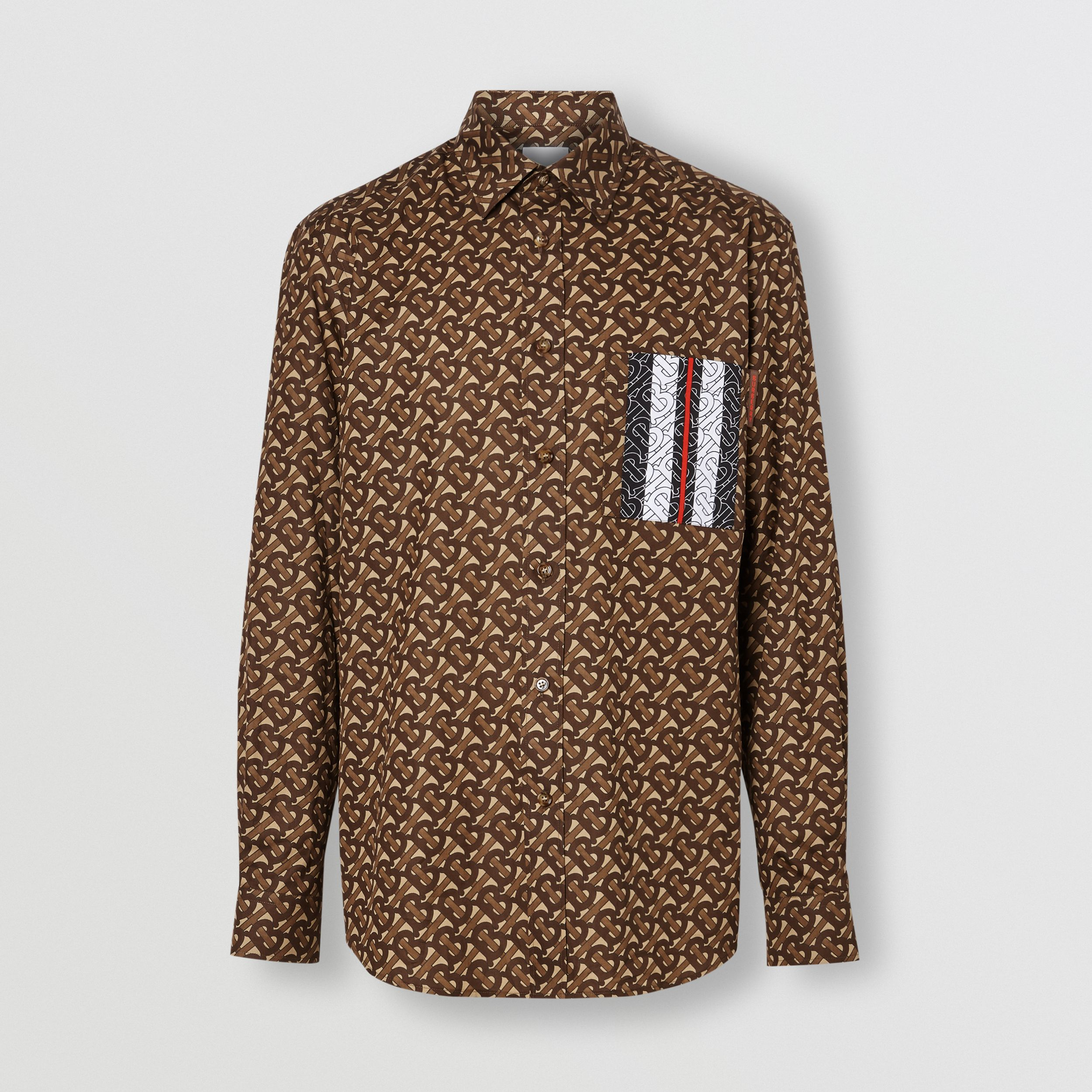 Monogram Stripe Print Cotton Shirt in Bridle Brown - Men | Burberry - 4