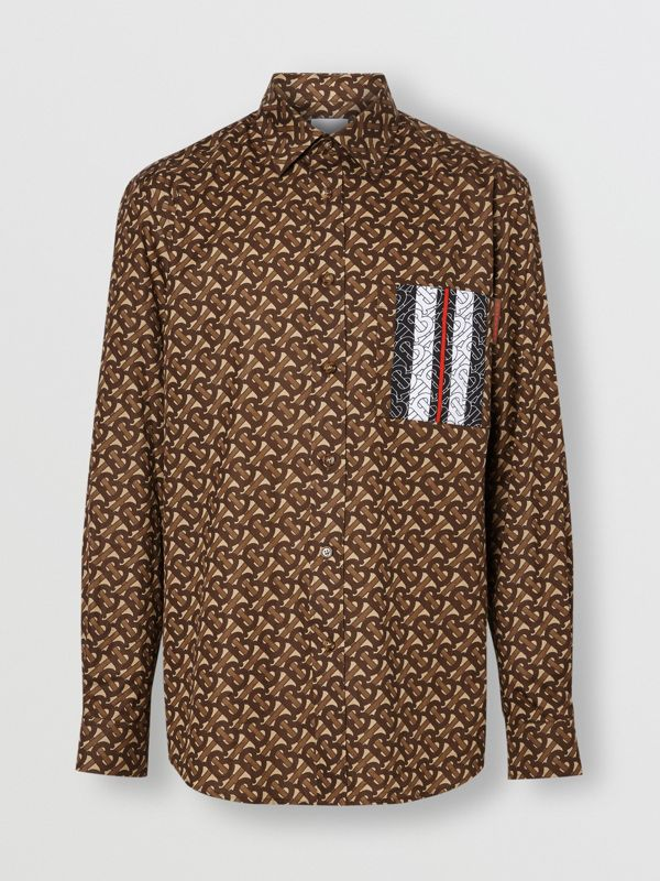 Monogram Stripe Print Cotton Shirt in Bridle Brown - Men | Burberry United Kingdom - cell image 3