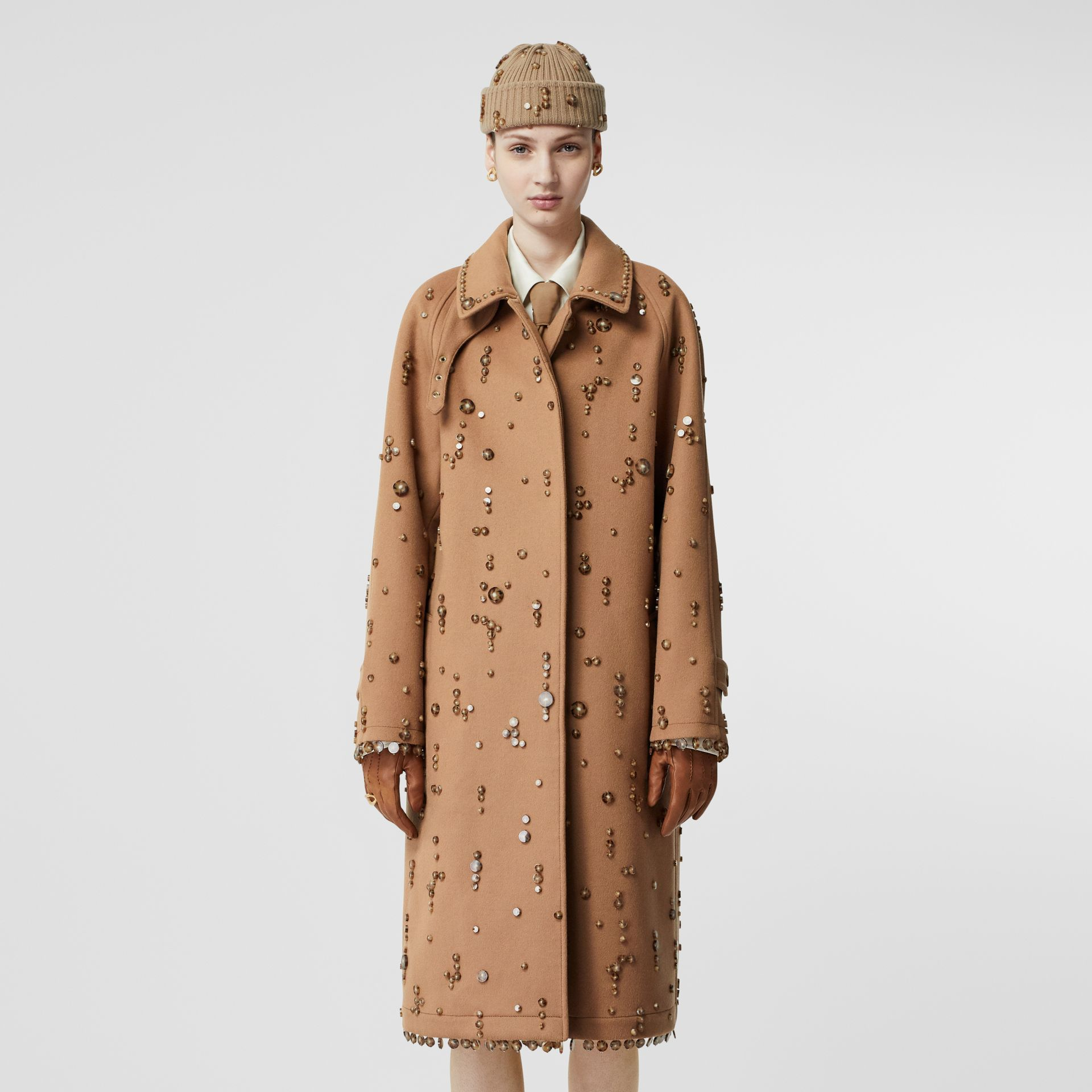 Embellished Wool Cashmere Car Coat in Camel - Women | Burberry - gallery image 6