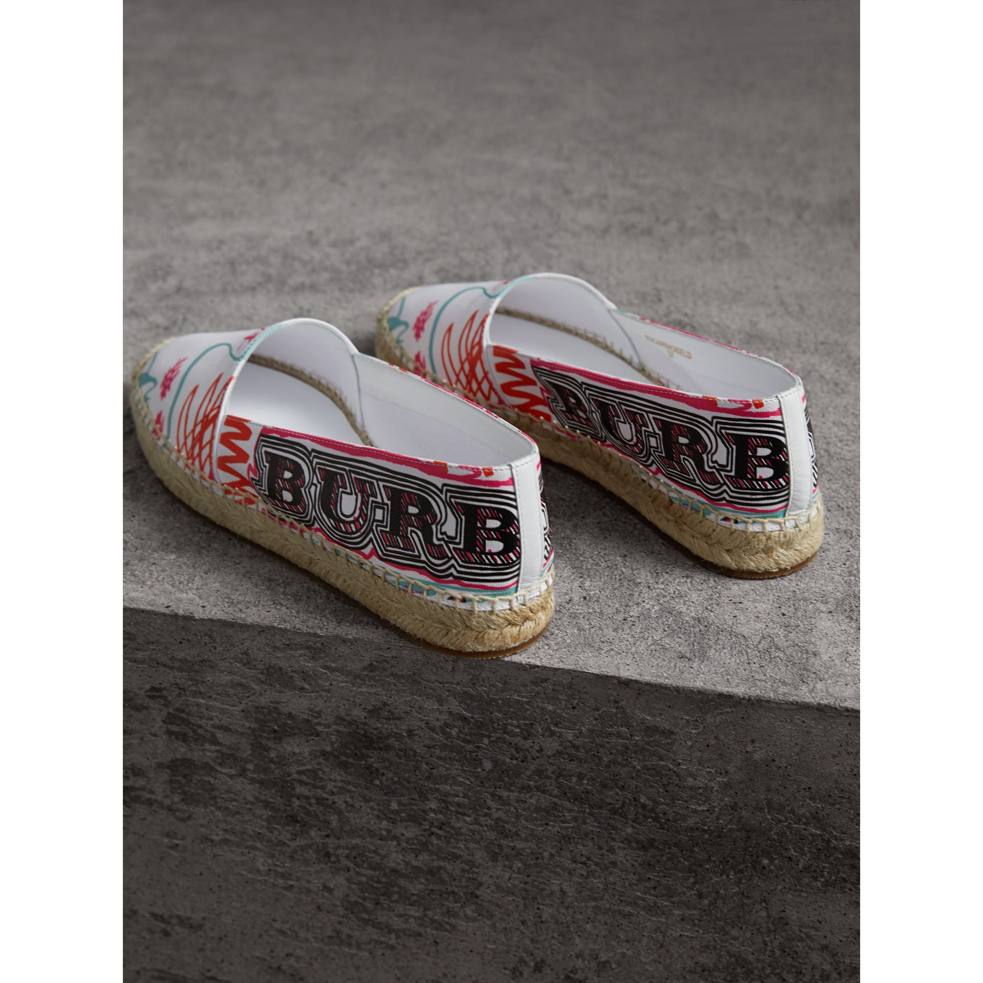 Doodle Print Coated Cotton Espadrilles in Optic White - Women | Burberry - gallery image 3