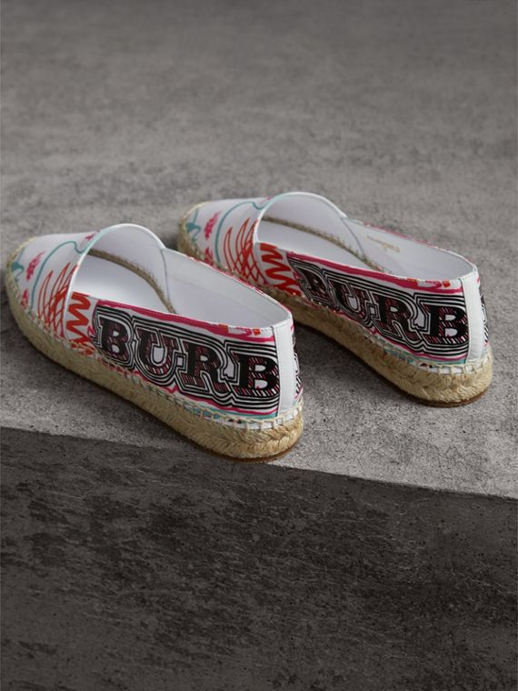 Doodle Print Coated Cotton Espadrilles in Optic White - Women | Burberry Singapore - cell image 3