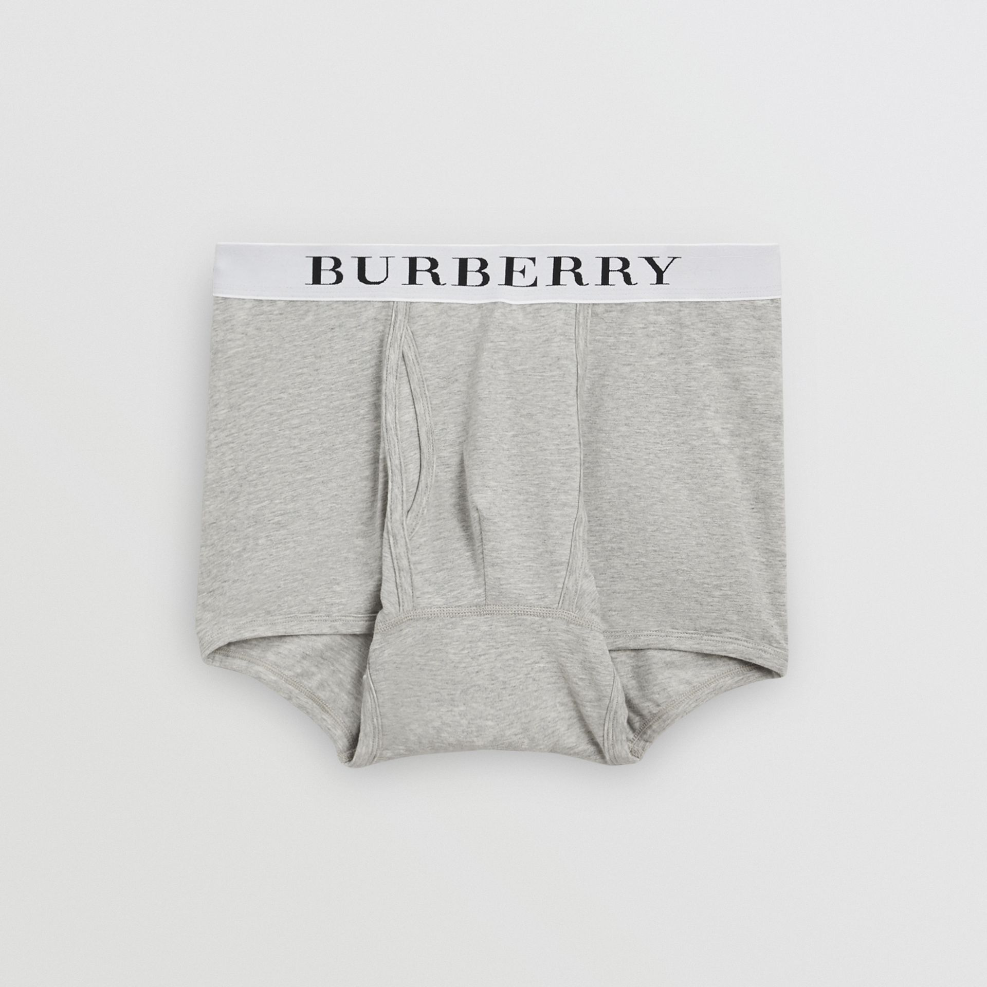 Stretch Cotton Boxer Shorts in Pale Grey Melange - Men | Burberry - gallery image 0