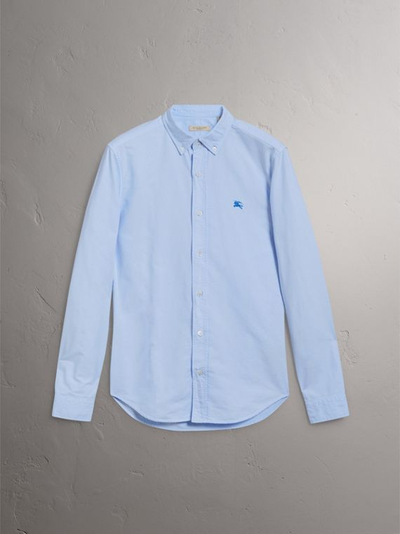 Cotton Oxford Shirt in Pale Blue - Men | Burberry - cell image 3
