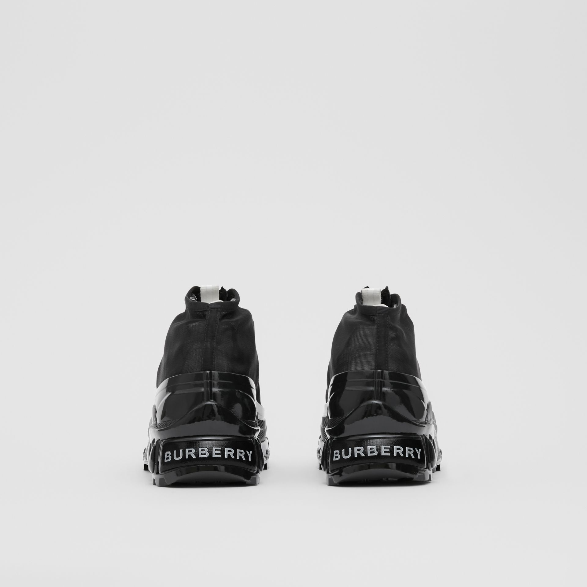 Mesh Detail Nylon and Suede Arthur Sneakers in Black/white - Women | Burberry United Kingdom - gallery image 2