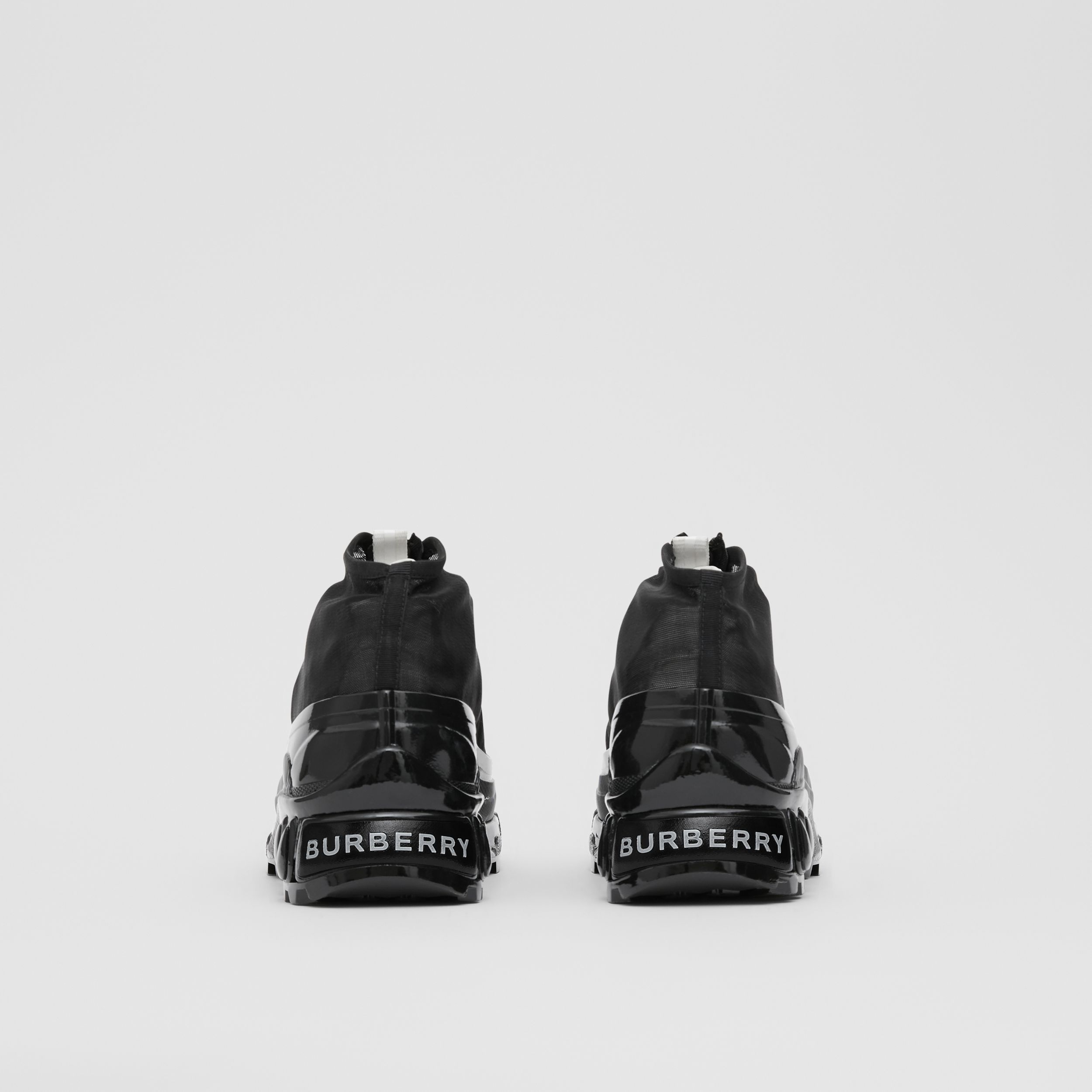 Mesh Detail Nylon and Suede Arthur Sneakers in Black/white - Women | Burberry - 3