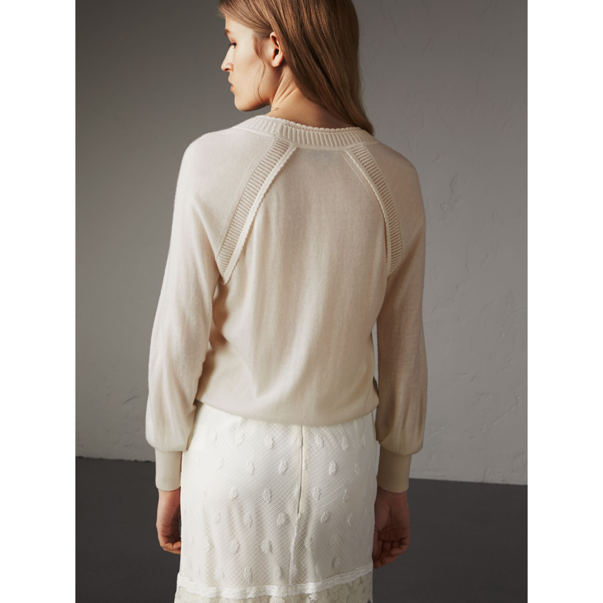 Open-knit Detail Cashmere Crew Neck Sweater in Natural White - Women | Burberry - gallery image 3