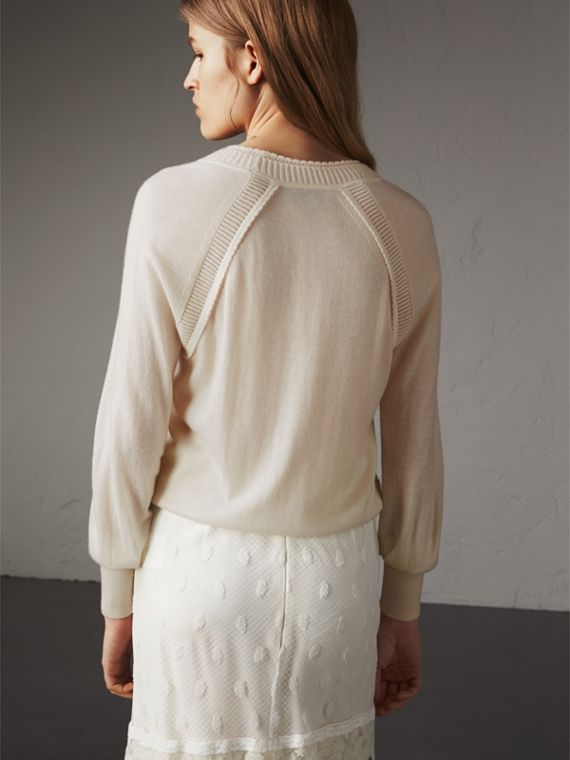 Open-knit Detail Cashmere Crew Neck Sweater in Natural White - Women | Burberry - cell image 2