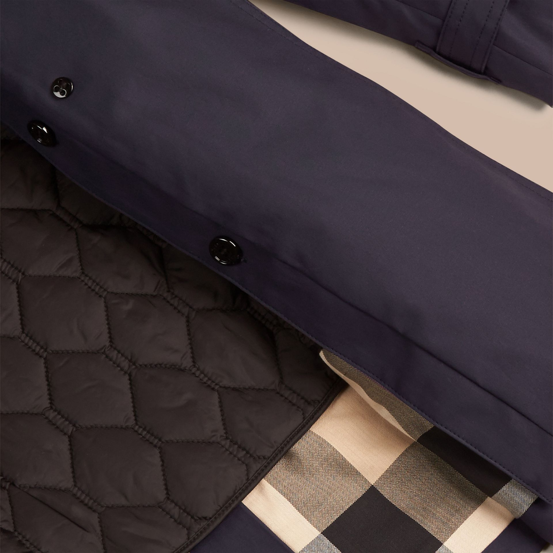 Hooded Trench Coat with Warmer in Navy - Women | Burberry - gallery image 2