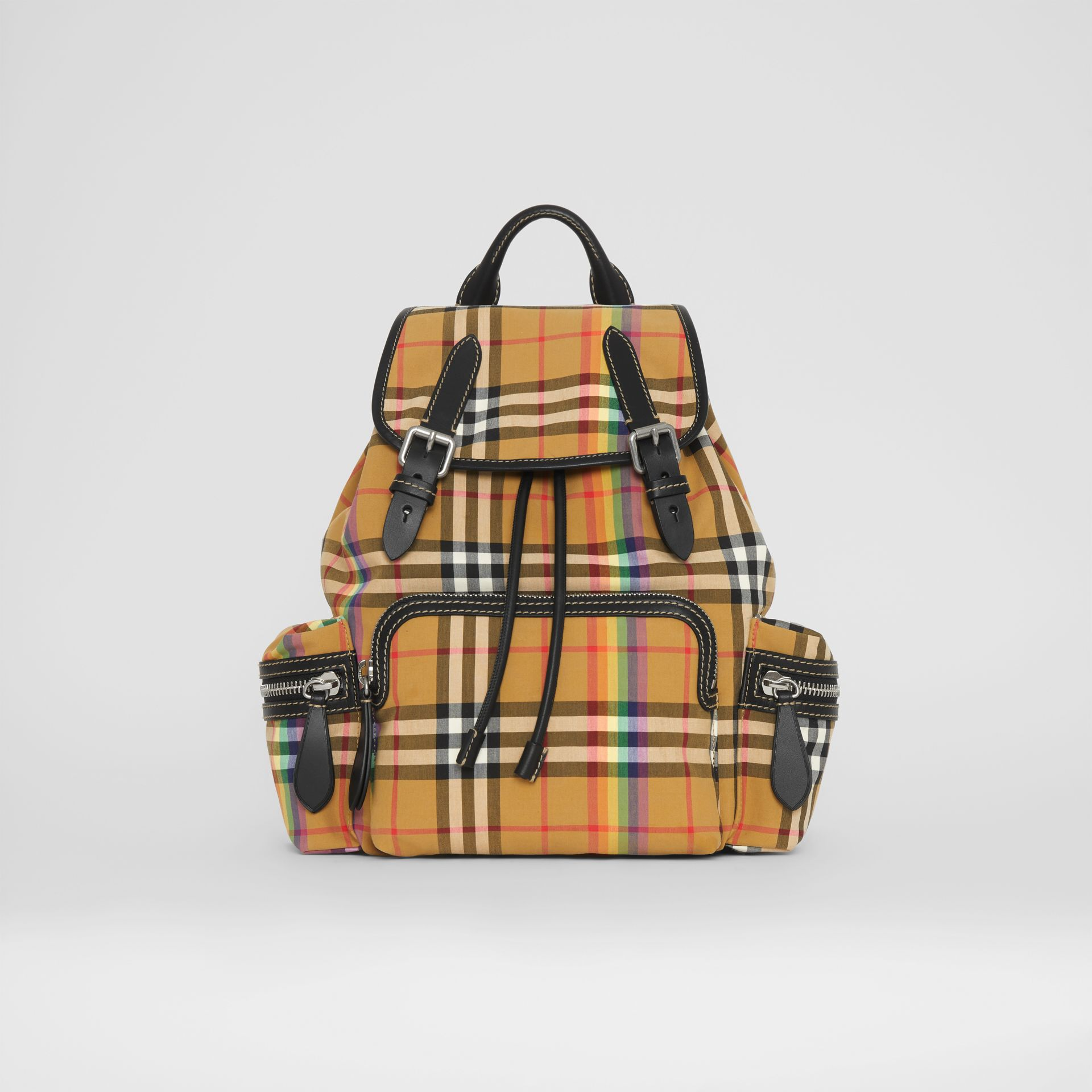 The Medium Rucksack in Rainbow Vintage Check in Antique Yellow - Women | Burberry United Kingdom - gallery image 0