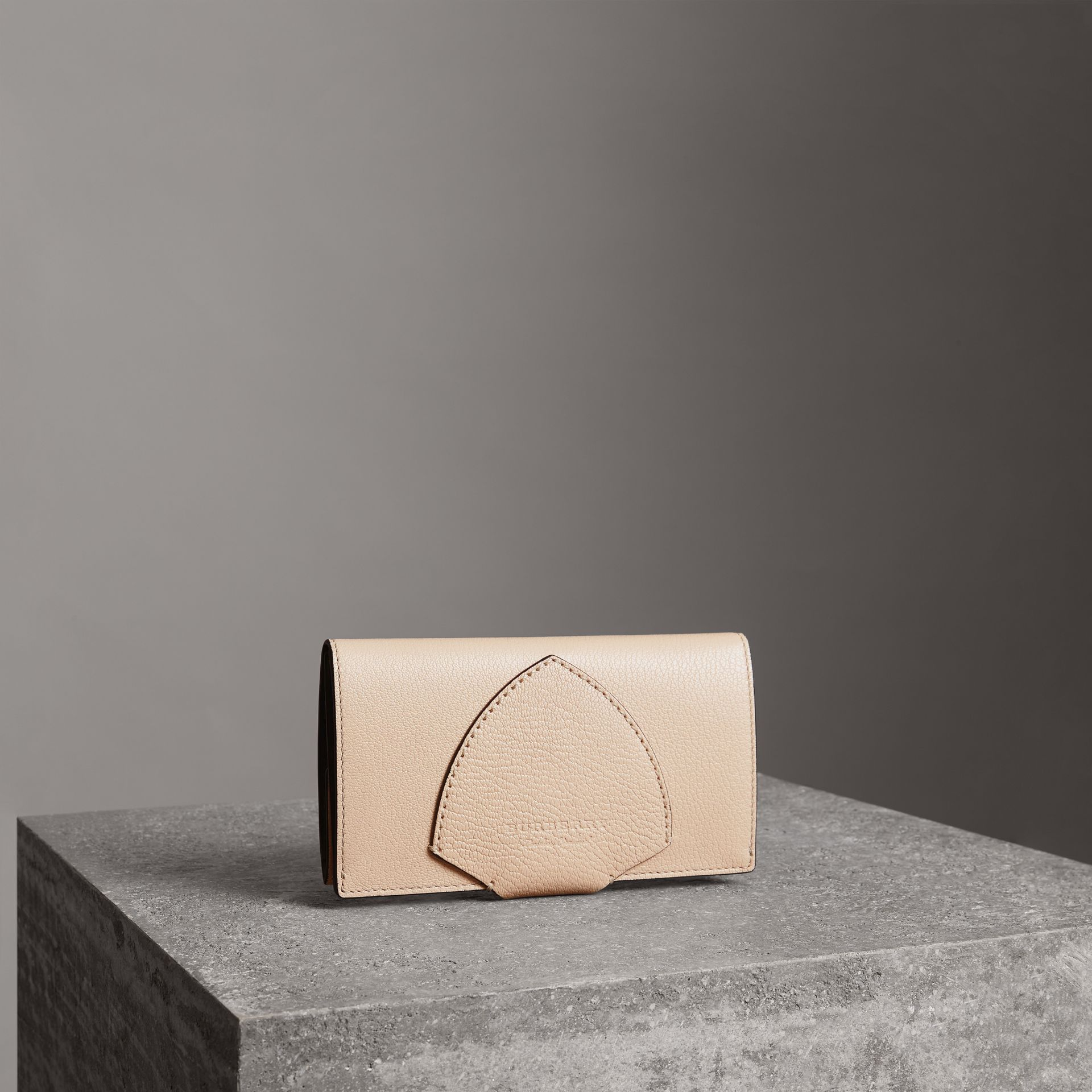 Equestrian Shield Two-tone Leather Continental Wallet in Stone - Women | Burberry Australia - gallery image 0