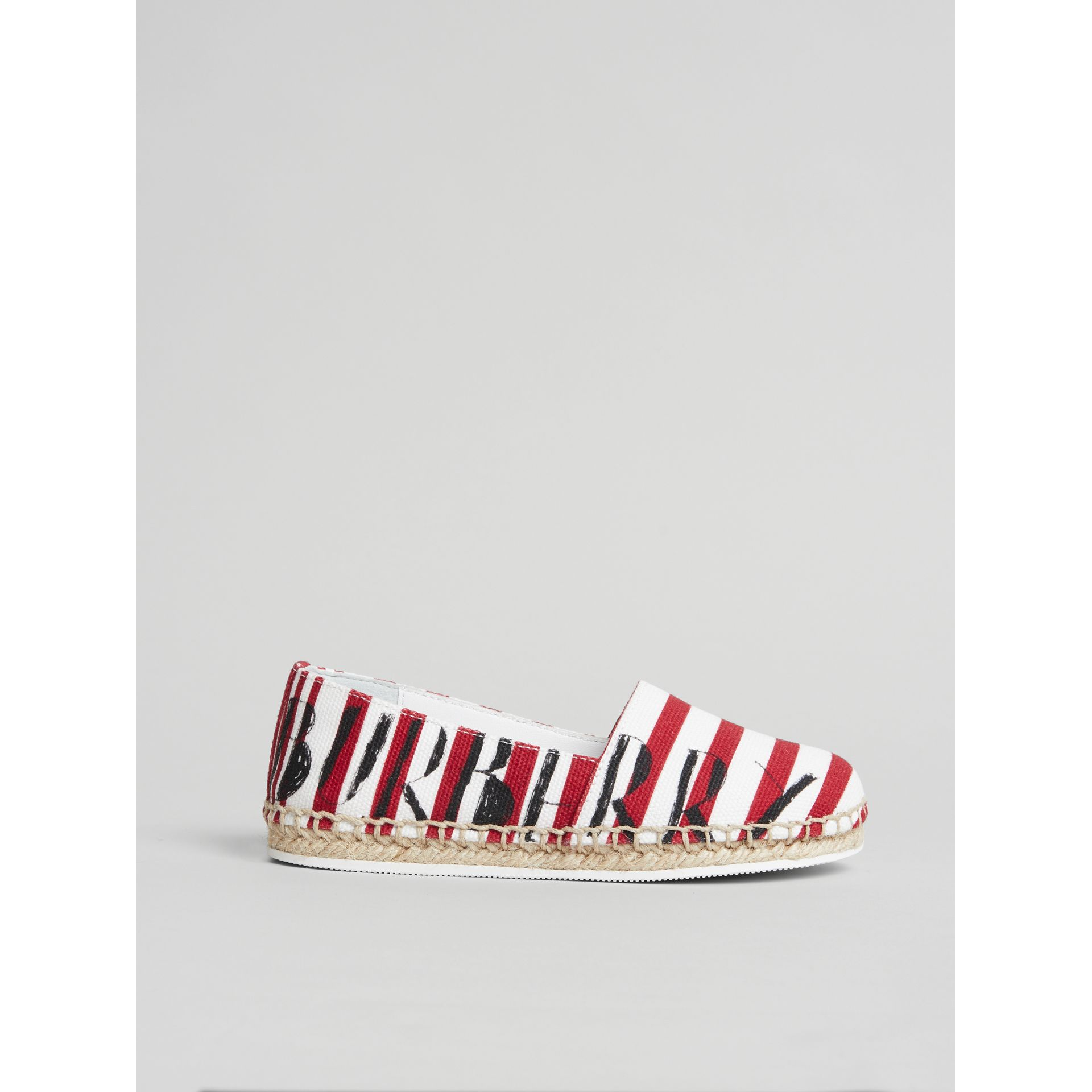 SW1 Print Striped Cotton Espadrilles in Bright Red | Burberry Australia - gallery image 3