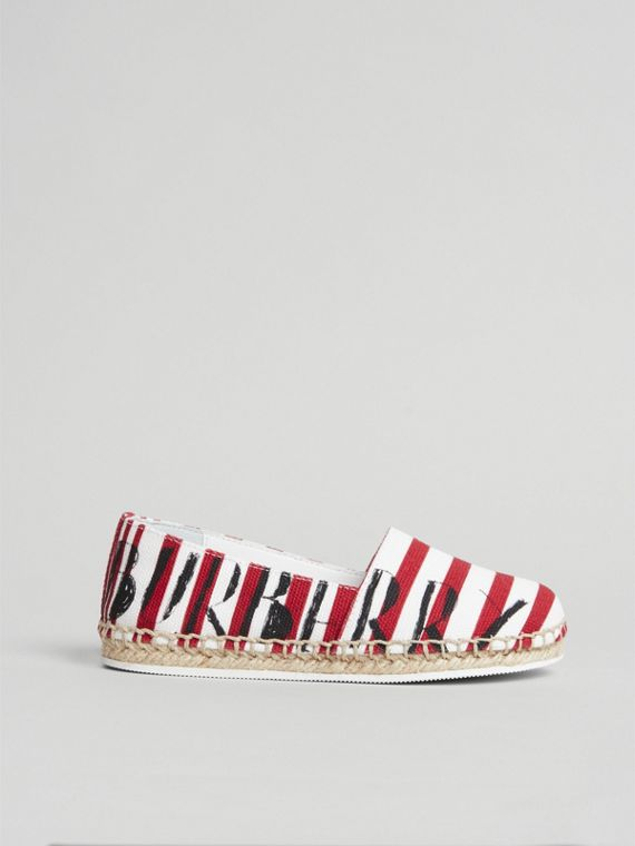 SW1 Print Striped Cotton Espadrilles in Bright Red | Burberry - cell image 3
