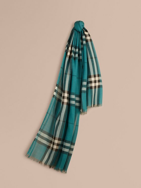 Lightweight Check Wool and Silk Scarf Dark Aqua