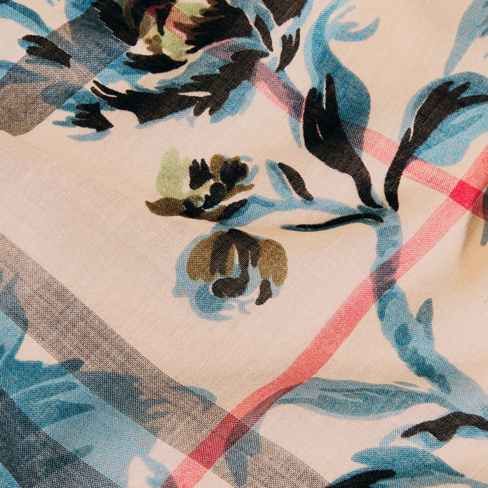 Stone/pl mineral bl Peony Rose Print Check Wool Silk Scarf Stone/pl Mineral Bl - gallery image 2