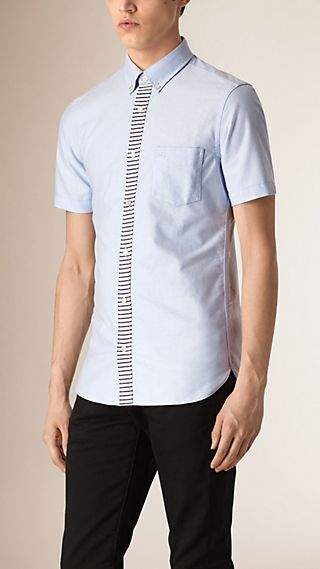 Stripe Placket Cotton Oxford Shirt