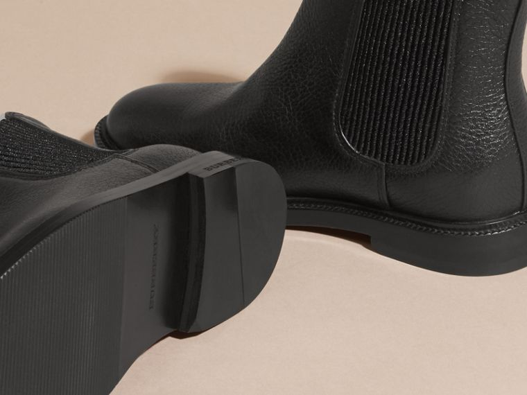 Black Grainy Leather Chelsea Boots - cell image 1