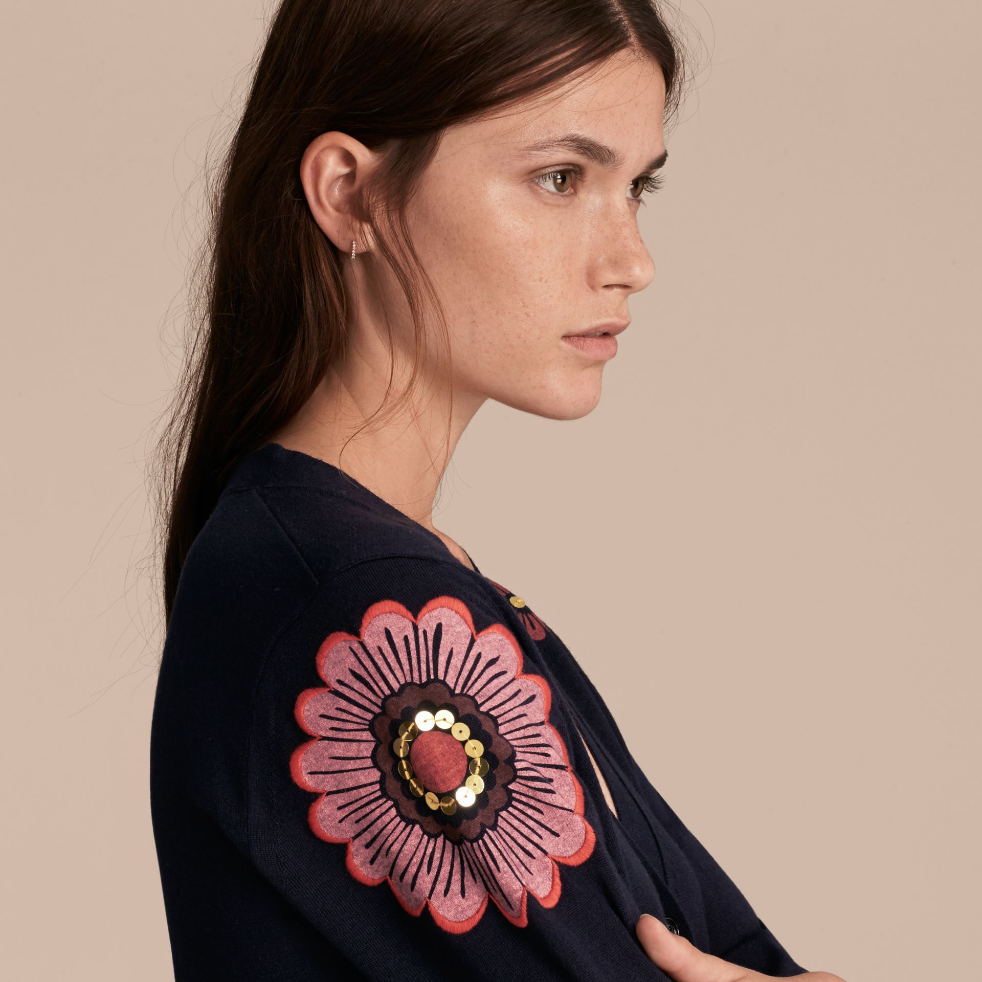 Navy Floral-embellished Merino Wool Cardigan - gallery image 5