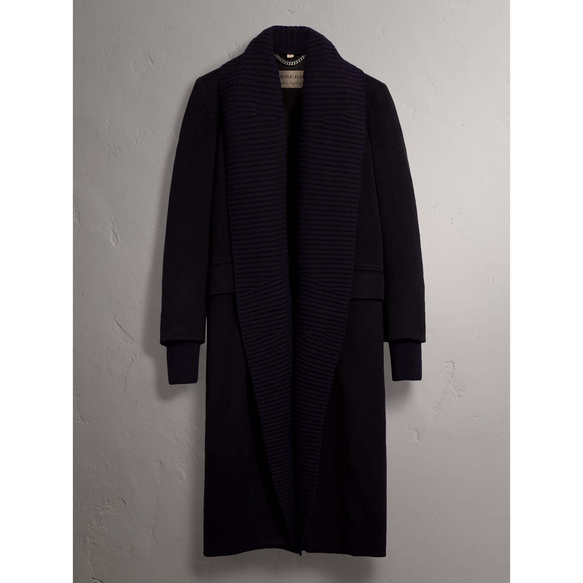 Detachable Rib Knit Collar Cashmere Coat in Navy - Women | Burberry - gallery image 4