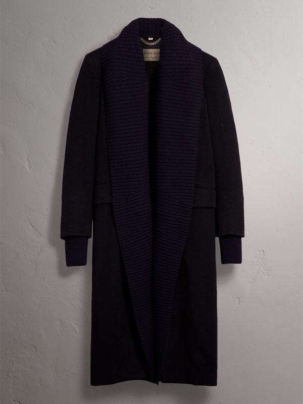 Detachable Rib Knit Collar Cashmere Coat in Navy - Women | Burberry - cell image 3