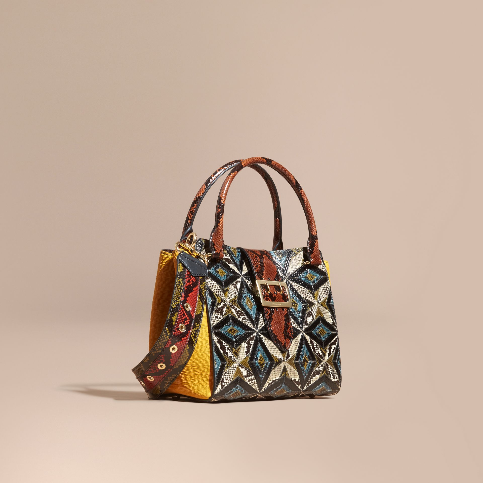 The Medium Buckle Tote in Tiled Snakeskin in Mineral Blue - Women | Burberry - gallery image 1