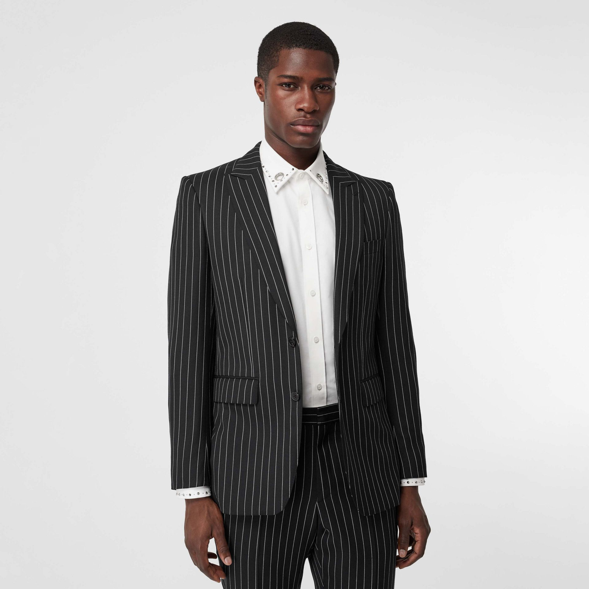 English Fit Pinstriped Wool Suit in Black - Men | Burberry Hong Kong - gallery image 6