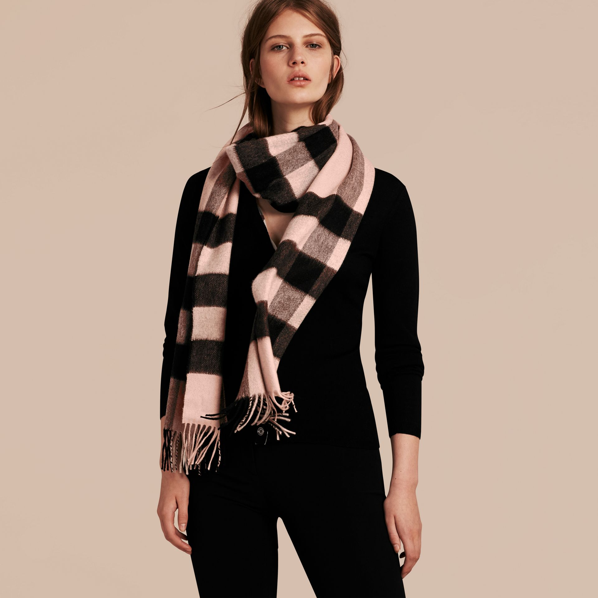 The Large Classic Cashmere Scarf in Check Rose - gallery image 3