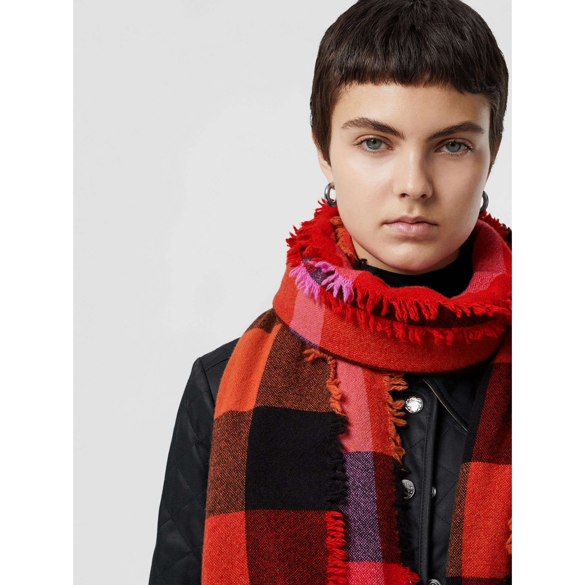 Fringed Check Wool Cashmere Scarf in Bright Orange Red | Burberry - gallery image 5