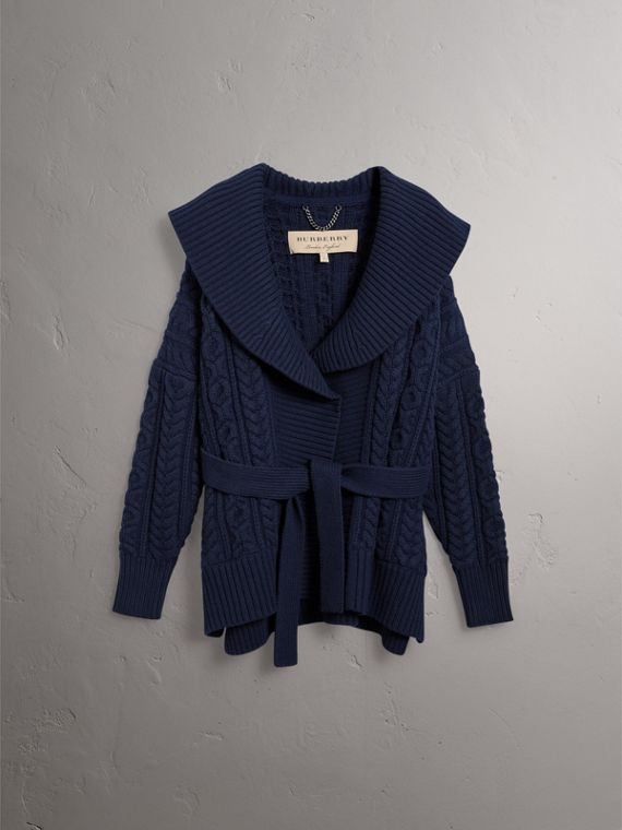 Cable Knit Wool Cashmere Wrap Cardigan in Navy - Women | Burberry - cell image 3
