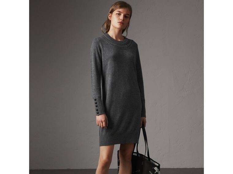 Knitted Wool Cashmere Sweater Dress in Mid Grey Melange - Women | Burberry - cell image 4
