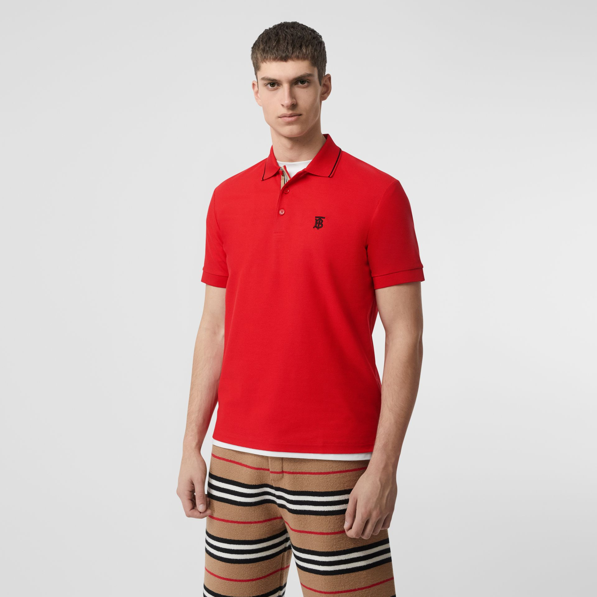 Icon Stripe Placket Cotton Piqué Polo Shirt in Bright Red - Men | Burberry United Kingdom - gallery image 4