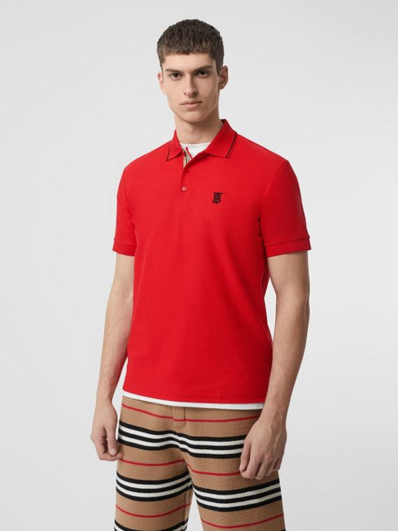 Icon Stripe Placket Cotton Piqué Polo Shirt in Bright Red