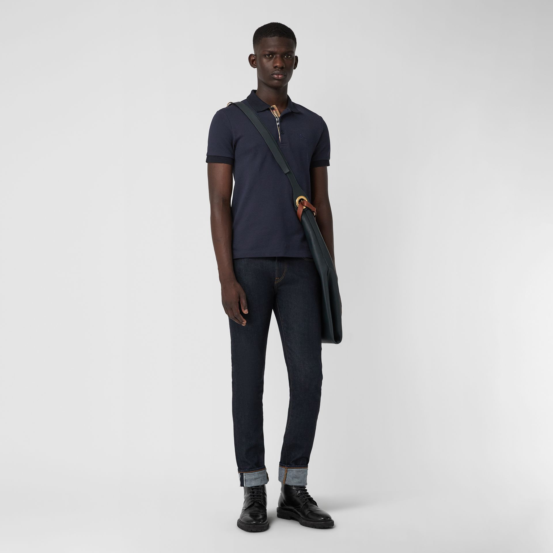 Check Placket Cotton Polo Shirt in Navy - Men | Burberry - gallery image 1