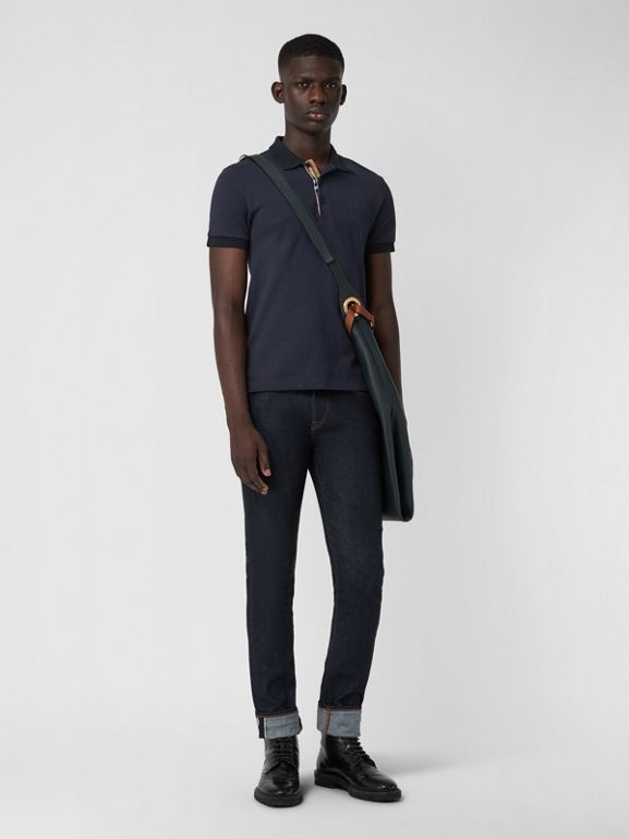 Check Placket Cotton Polo Shirt in Navy - Men | Burberry - cell image 1