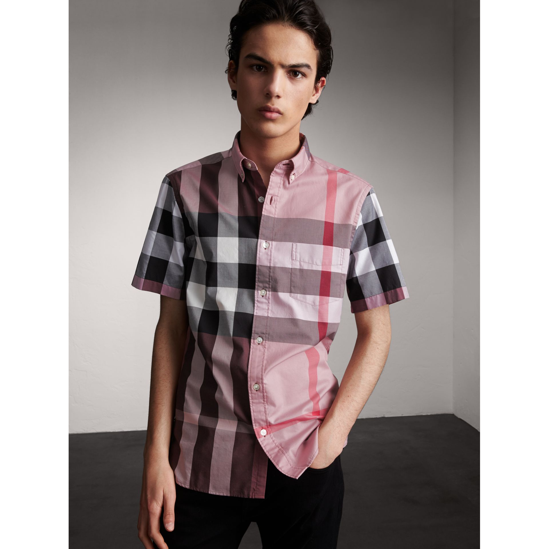 Button-down Collar Short-sleeve Check Cotton Shirt in Ash Rose - Men | Burberry - gallery image 1
