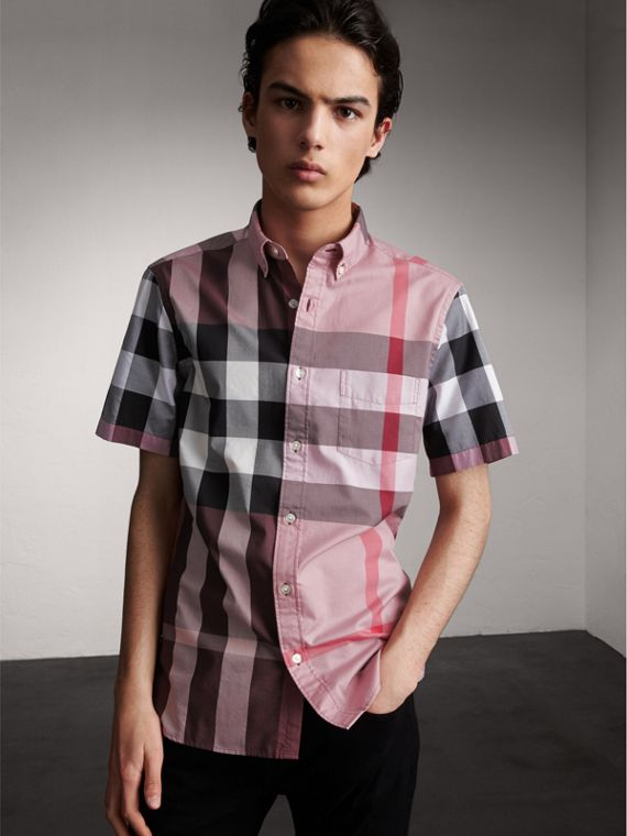 Button-down Collar Short-sleeve Check Cotton Shirt in Ash Rose