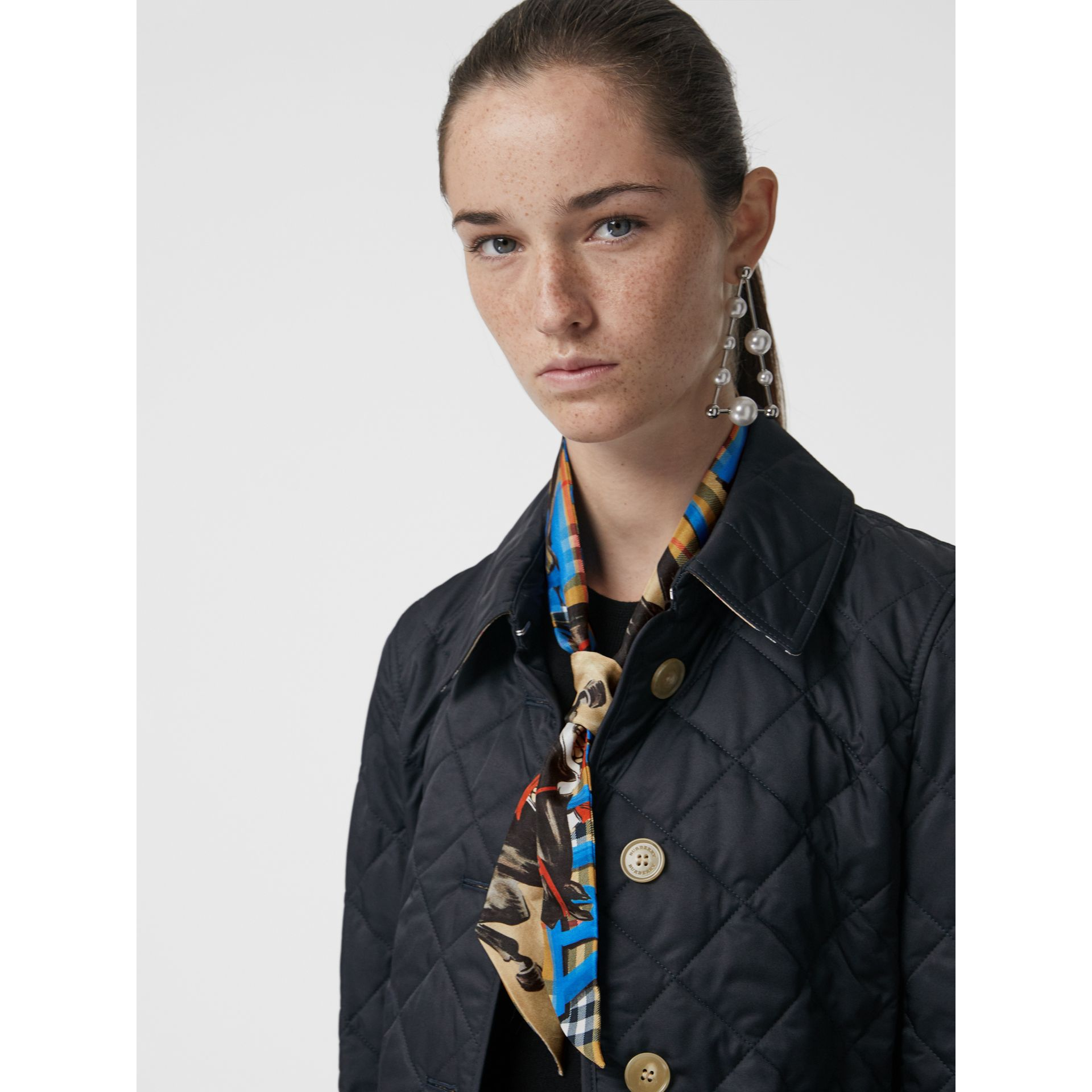 Graffiti Archive Scarf Print Silk Skinny Scarf in Bright Blue - Women | Burberry Singapore - gallery image 3